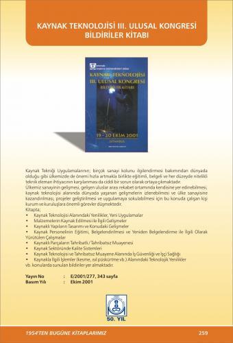 KAYNAK TEKNOLOJİSİ III. ULUSAL KONGRESİ BİLDİRİLER KİTABI