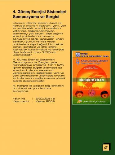 4. GÜNEŞ ENERJİSİ SİSTEMLERİ SEMPOZYUMU VE SERGİSİ BİLDİRİLER KİTABI